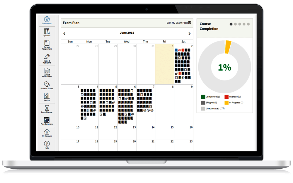 Wiley CPAexcel Dashboard Study Schedule