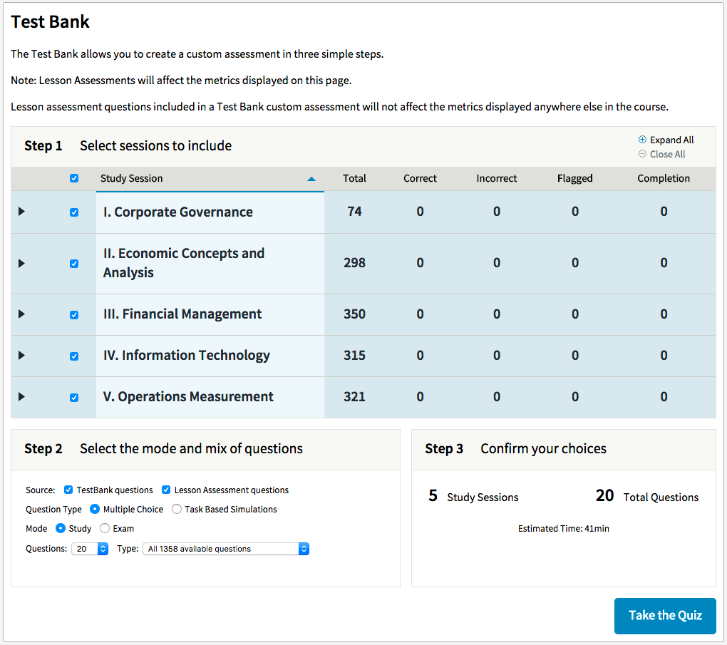 WileyCPAExcel Test Bank Customization