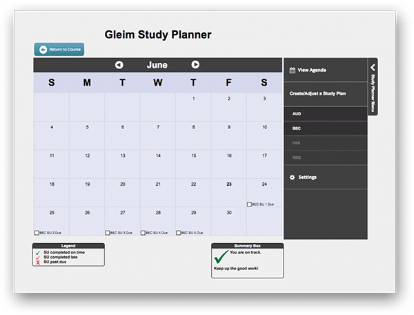 Gleim CPA Review - Dashboard UX